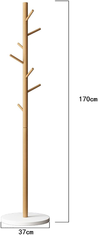 LFF- Wooden Floor Coat Rack greenical Household Clothes Rack Bedroom Parlor Bag Rack 37×37×170cm Simple Modern Hanger (color   A)