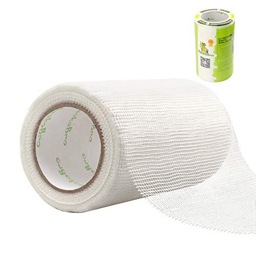 Rete in fibra di vetro, eccellente resistenza agli alcali e resistenza all'invecchiamento, nastro in fibra di vetro autoadesiva ad alta resistenza con tessuto liscio (20cm x 30 m)