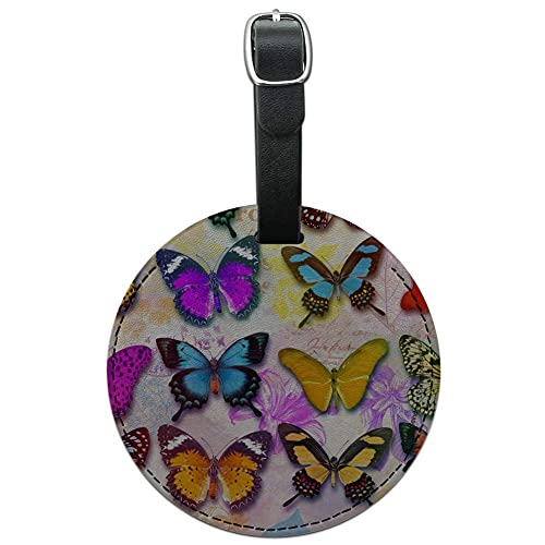 Cartellino per bagagli in pelle rotonda con farfalle colorate