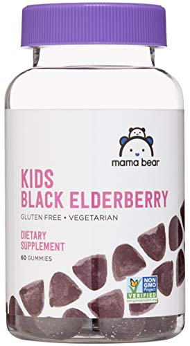 Amazon Brand - Mama Bear Kids Black Elderberry Gummies 300 mg - Immune System Support - 60 Gummies (1 Month Supply), Vegetarian, Gluten Free