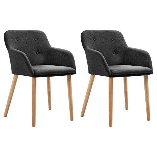 vidaXL - Juego de 2 sillas de comedor de madera de roble maciza, sillas acolchadas, sillas de comedor, sillas de comedor, color gris oscuro