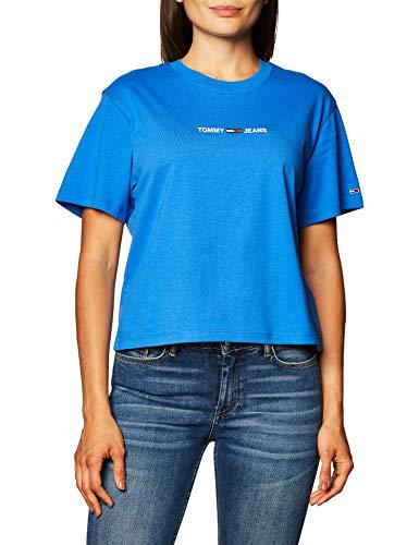 Tommy Jeans Damen TJW BXY CROP LINEAR LOGO TEE T-Shirt, Golfküste Blau, Small