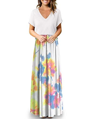Atizon Maxi Skirts for Women Long Skirts Elastic Waist Tie Dye Knit Skirt