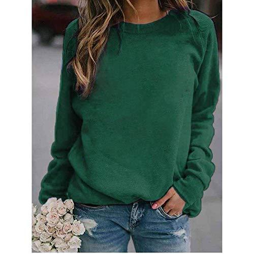 QSDM T-Shirt Girocollo a Maniche Lunghe da Donna Felpa da Donna Pullover Crew Pullover da Donna a Maniche Lunghe con Stampa Paesaggio Tinta Unita Autunno e Inverno-Verde_S