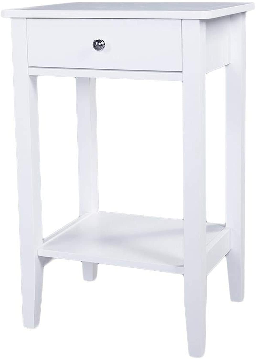 Ktaxon Two-Layer Bedside Table Coffee Table with Drawer White Wooden Storage Ktaxon Two-Layer Bedside Table Coffee Table with Drawer White Wooden Storage