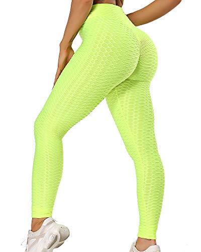 STARBILD Leggings de Fitness Mallas Pántalones Largos Deportivos Cintura Alta Elástico Control de Barriga para Mujer Yoga Gimnasio #Booty-Amarillo Brillante M