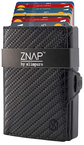 ZNAP Slim Wallet for men - Minimalist Wallet - Slim Wallets with Money Clip - No Folding of Bills - RFID Blocking Metal Wallet - Carbon Fiber Wallet - Mens Wallet with Money Clip - Up to 12 Cards