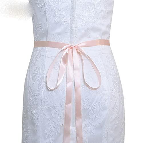 TOPQUEEN S198 Cinturones para vestido de novia Cinturón plateado para mujer Cinturón brillante para boda para mujer Cinturón de diamantes para vestido Faja nupcial-Cinta rosa bebé, Oro rosa
