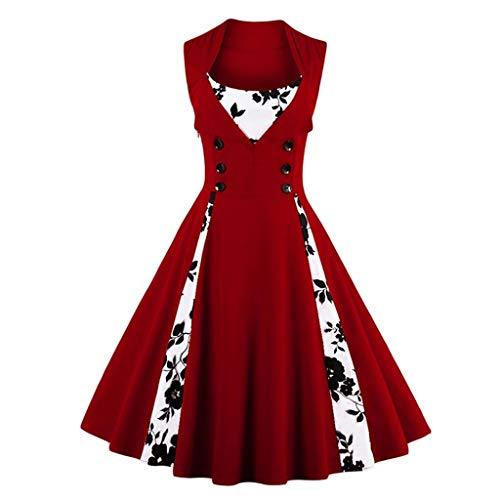 FZJDX Mujer Robe Pin Up Dress Retro Vintage Rockabilly Swing Summer Vestidos Femeninos Elegantes (Color : Red, Size : XXL Code)