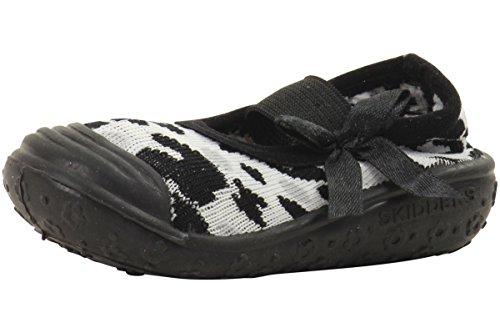 Skidders Girls' Leopard BK-K Sneaker, Black, 6 M US Toddler