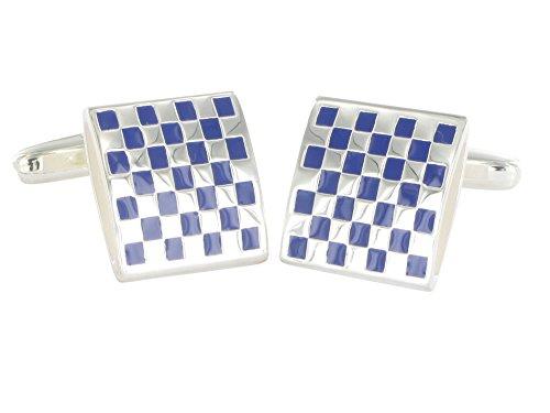 Grom Manschettenknöpfe Schachbrettmuster Silber Blau