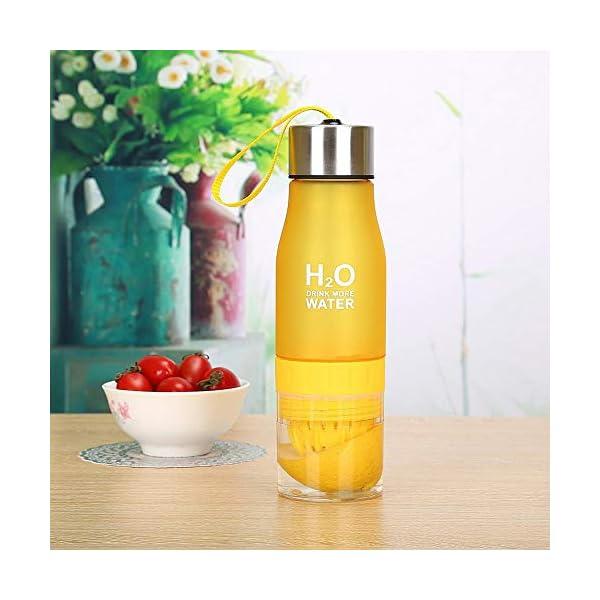 de pl/ástico Tapa port/átil para Viajes Yoga al Aire Libre 650 ml Botella de Agua con infusor de Frutas Gimnasio sin BPA