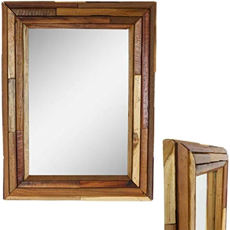 Wandspiegel mit Rahmen aus Holzstücken Spiegel Thailand Massiv Holzrahmen Holz-Spiegel ca. 45 x 60 cm Nr. 3