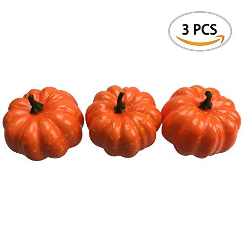 """Small Artificial Foam Fake Pumpkins Outdoor Decorations 3PCS, 3.35"""" x 3.15"""" by ZXSWEET"""