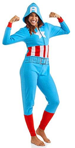 Captain America Damen Schlafanzug Marvel Cozy Union Suit Pyjama Nachtwäsche - Blau - XXX-Large (22W/24W) US