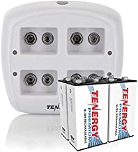 Tenergy TN136 4 Bay 9V Smart Charger with 4 Pieces Tenergy Premium 9V NiMH Rechargeable Batteries