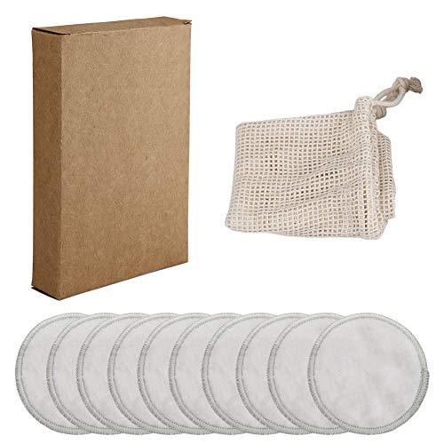 Huieng 10 Stks gezichtsreiniger en ogen make-up remover pads, natuurlijke bamboe katoen ronden met katoen waszak, bamboe vezel gezichtsverzorging verpleging herbruikbare pads