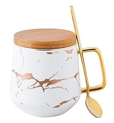 Jusalpha Golden Hand Print Coffee Mug With Lid/Tea Cup/Water Mug/Gift FDMUG02 (White)