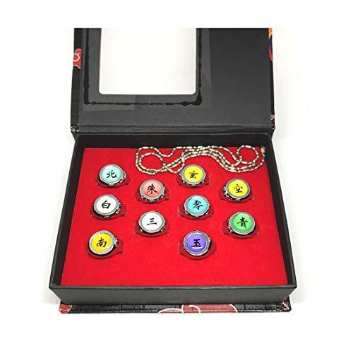 calhepco Naruto Ninja Akatsuki Uchiha Itachi Ring-Cosplay, Halsketten-Set inklusive Box, verstellbar, 10 Ringe