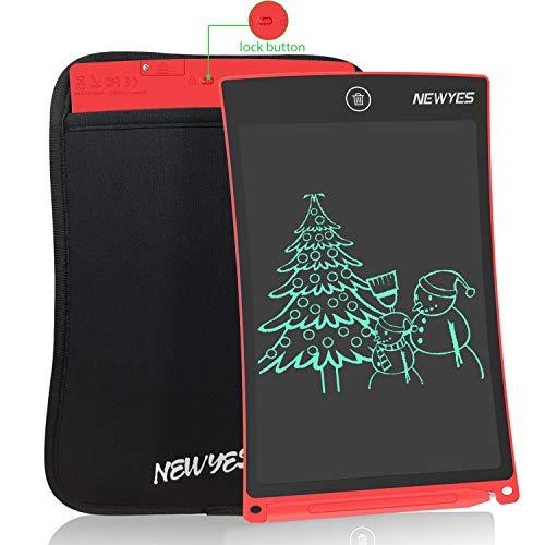 """NEWYES 8,5"""" Tableta de Escritura LCD, Tableta Gráfica, Tableta de Dibujo portátil, Adecuada para el hogar, Escuela u Oficina, con Funda (Rojo)"""