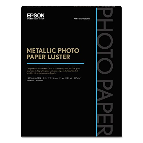 - Professional Media Metallic Photo Paper Luster, White, 8 1/2 x 11, 25 Sheets