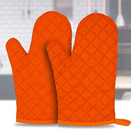 Goovy Ofenhandschuhe, Hitzebeständige Verdickte Handschuhe Hitzeresistente Silikon Anti-Rutsch Design, Geeignet für Kochen, Backen, Grillen, Orange