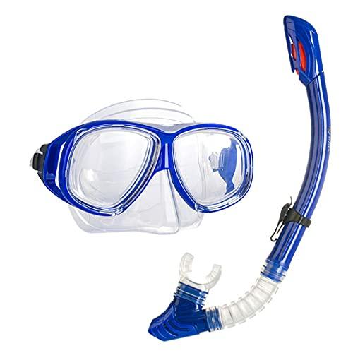 Goggles Mascara Buceo Gafas de Buceo con Lentes Myopia Light Full Seco Snorkel Set Largo Duradería Anti-empañamiento Cómodo Ajuste Apto para Adultos (Color : Blue, Size : 250°)