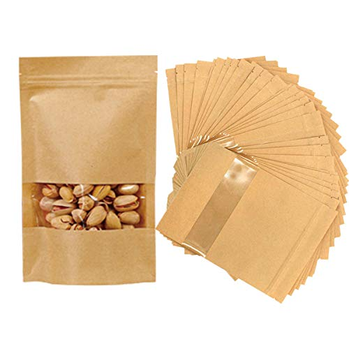 TheStriven 100pcs Bolsas de Papel con Ventana Pequeña Bolsas de Papel de Papel Kraft con Base Bolsas de Papel Kraft biodegradables Bolsa de Comida de pie para Guardar o Llevar Fruta Dulces Galleta