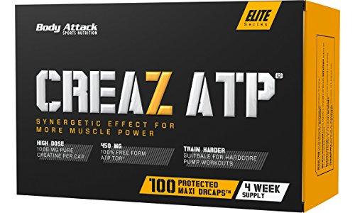 Body Attack CREAZ ATP®, 100 Kapseln / 33 Tagesportionen, 100% wasserfreies Kreatin, hochdosierte vegane Maxi-Caps, Adenosintriphosphat für Kraftzuwachs-Steigerung, aspartamfrei, Made in Germany