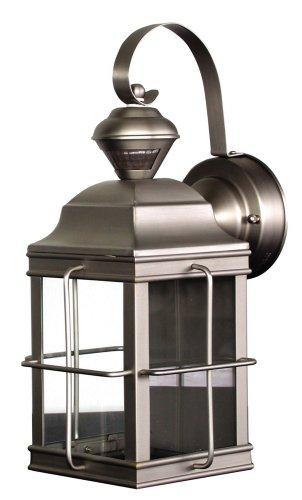 Heath/Zenith SL-4144-NB Motion-Sensing 4-Sided New-England-Style Lantern, Brushed Nickel