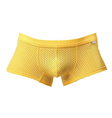 BRAVE PERSON Men's Fashion Sports Shorts Mesh Boxer Briefs B1015 (M: 28'', Yellow)