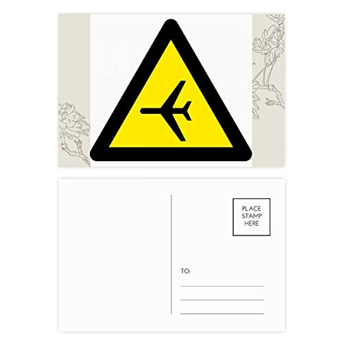 DIYthinker Waarschuwing Symbool Geel Zwart Vliegtuig Driehoek Bloem Postkaart Set Thanks Card Mailing Side 20 stks 5.7 inch x 3.8 inch Multi kleuren