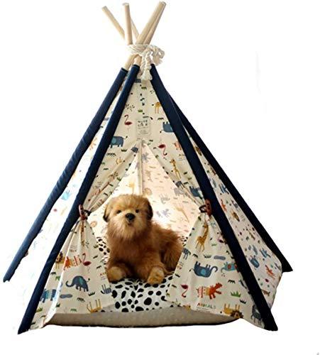 Cama de mascotas de perro suave de lujo, PET PERRY TEEPEE, animales de color Casa para mascotas de lona de algodón plegable de animales plegables (sin cojín) para perros de gato Perrito de conejo PET,