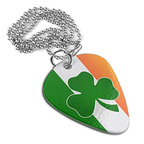 JJCSTE.C St. Patricks Day Shamrock Ireland Flag A Personalized Stainless Steel Guitar Pick Necklace Pendant Dog Tag Pet Card Keychain