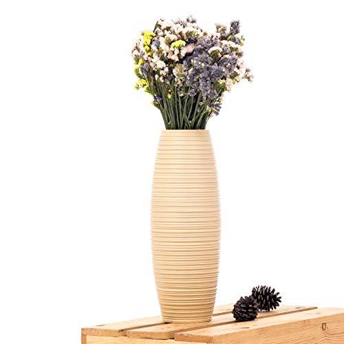 Leewadee Kleine Bodenvase für Dekozweige hohe Standvase Design Holzvase, 15x41 cm, Mangoholz, Creme