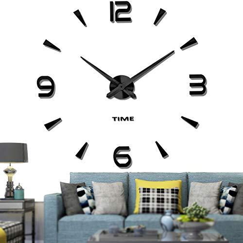 Vangold Moderne Mute DIY große Wanduhr 3D Aufkleber Home Office Decor Geschenk (Schwarz-73)