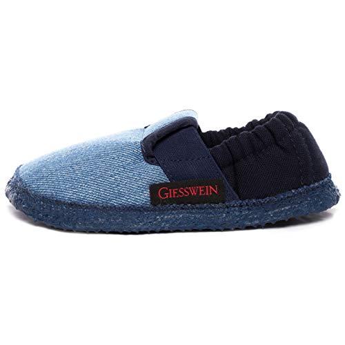 Giesswein Aichach - Zapatos de punta redonda de niños sin cordones, Azul (528 / dunkle jeans), 25