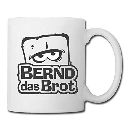 Bernd Das Brot Logo Schwarz-Weiß Tasse, Weiß