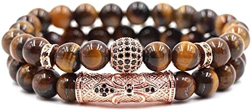 7 Chakra Pulsera de Cuentas de Piedra de Ojo de Tigre Natural Elasticidad Pulsera de Bola de Oro Rosa Moda Boho Yoga Señora Joyería Regalo para Novia Mamá
