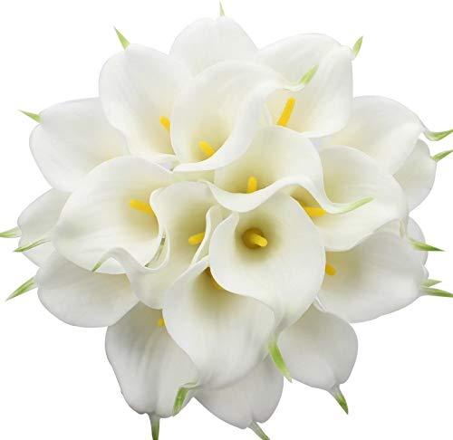 Tifuly künstliche Calla-Lilien, realistische Latex-Calla-Lilie mit weichem PU-Stamm, Elegante Blumendekoration für Brauthochzeit, Haus, Partei, Büro, DIY-Blumengestecke(Weiß)