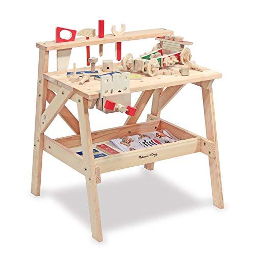 Melissa & Doug Wooden Project Solid Wood Workbench (Pretend Play, Sturdy Wooden Construction, Storage Shelf, 66.04 cm H × 47.625 cm W x 60.96 cm L)