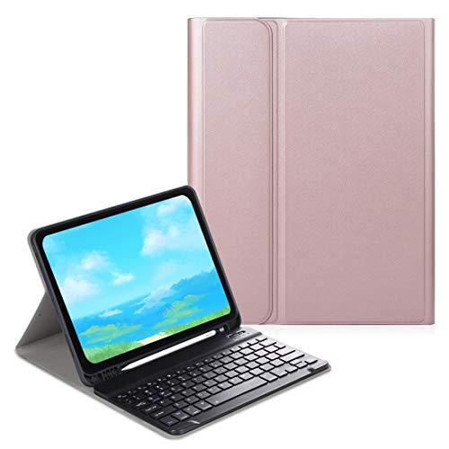 LESLEY LM For Electric Pressed Horizontal Flip Leather Case with Pen Slot & Holder & Keyboard iPad Pro 11 (2020) 2021 NEW MODEL (Color : Rose Gold)
