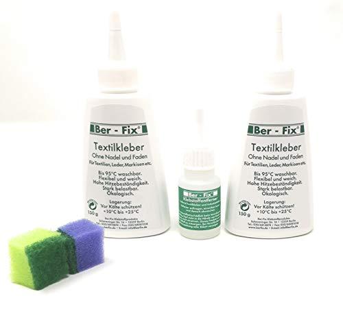 Ber-Fix® Textilkleber waschmaschinenfest transparent Plus Klebstoff-Entferner (2x 150g Textilkleber + 20g Klebstoffentferner)