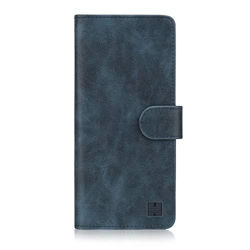 32nd Essential Series - PU Leder Mappen Hülle Flip Case Cover für Sony Xperia 10 (2019), Ledertasche hüllen mit Magnetverschluss & Kartensteckplatz - Navy Blau