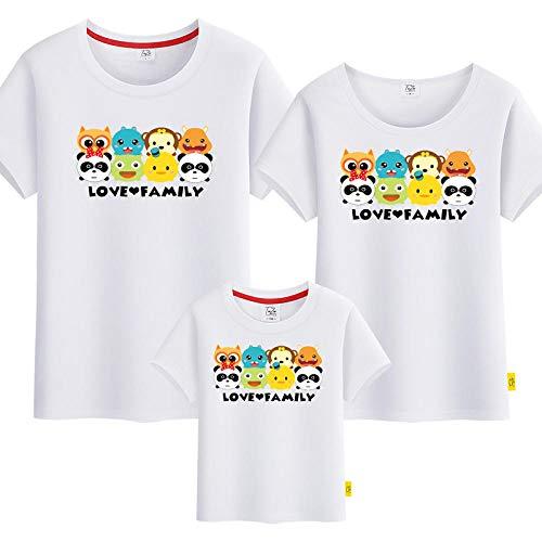 SANDA Jersey Nia,Camiseta para Padres e Hijos Ropa de Verano para Padres e Hijos 2020 Nueva Ropa Familiar Ropa Familiar de Manga Corta con Estampado de Animales-Blanco_Mam L