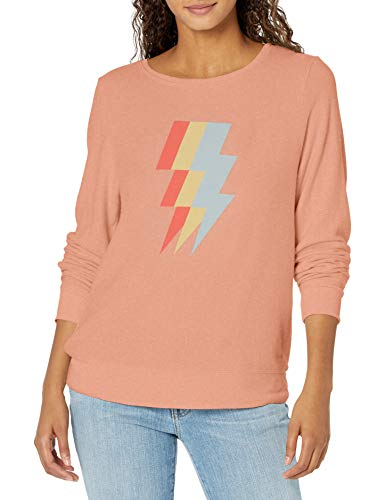 Wildfox Women's Baggy Beach Long Sleeve Pullover Sweatshirt, Guava, Large