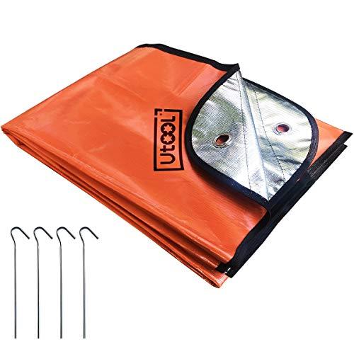 UTOOL Ultra Rettungsdecke, Überlebensdecke, strapazierfähig, Thermodecke, wasserdicht, wiederverwendbar, Wärmespeicherung, extra groß, Orange