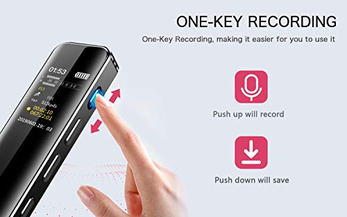 Digital Voice Recorder, 16GB SuperEye USB Dictaphone with MP3 Music Player Microphone Audio Professional Recording, Noise Reduction, Rechargeable Battery Recorder for Lectures, Meetings, Interviews