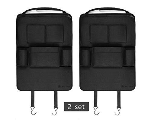 SALCAR 2 Stück Auto-Rückenlehnenschutz Auto Organizer Multifunktionale Stuhl Zurück Aufbewahrungstasche für Kinder Kick Matte für iPad,iPhone,DVD,Getränke - Schwarz