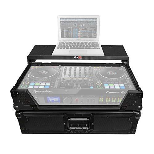 ProX XS-DDJ1000WLTBL Flight Case for Pioneer DDJ-1000 & DDJ-1000 SRT Digital Controller with Sliding Laptop Shelf & Wheels - Black on Black Design